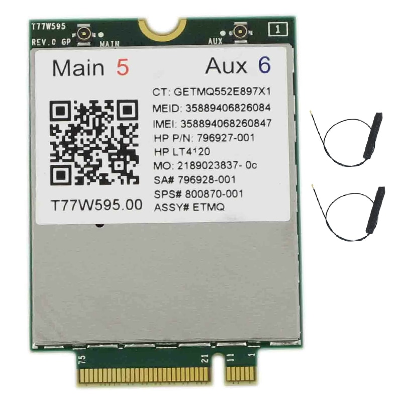 Lt4120 X5 LTE T77W595 796928-001 4G WWAN M.2 150Mbps LTE Modem for HP Elite X2 840 850 G3 640 650 645 G2 Silver