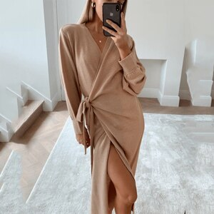 2020 New Autumn Winter Fashion Solid Knitted Dress Sexy V-neck Plus Size S-XL Long Sleeve Dresses Elegant  Loose Dress Ladies