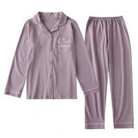 2021 new womens pajamas cotton couple pajama sets men women night suit solid comfortable casual long sleeve lover sleepwear