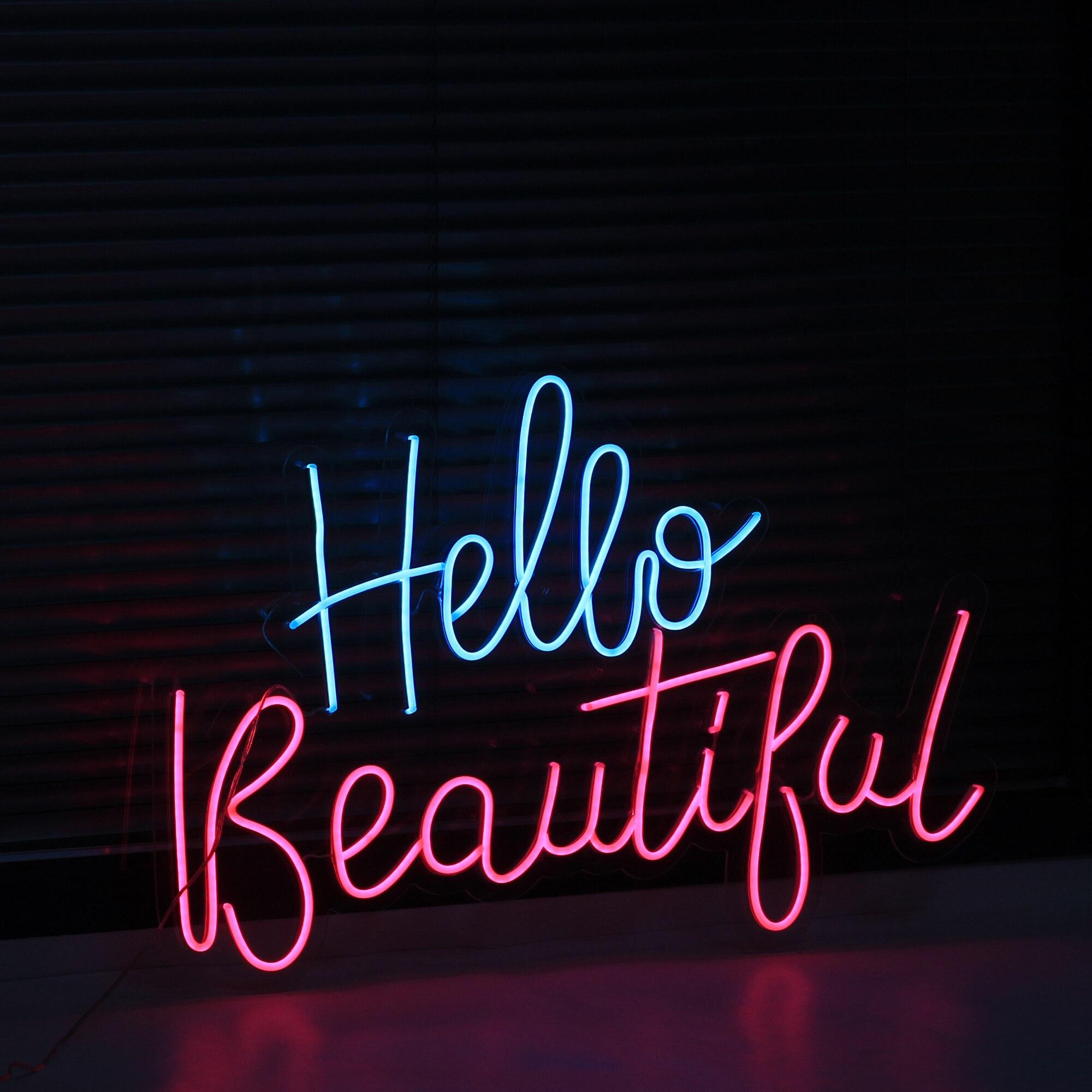 شعار نيون مخصص ضوء مقاوم للماء فليكس Led الاكريليك الجدار الشنق ديكور المنزل النيون بار أضواء النيون مرحبا علامة جميلة
