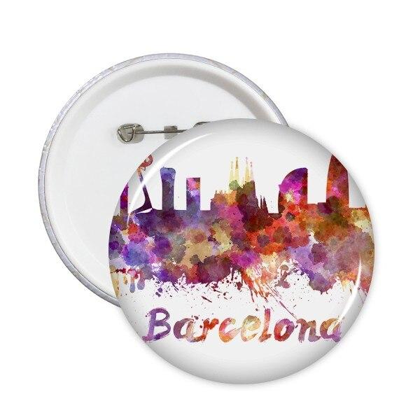 Alfileres redondos con ilustración de acuarela de Barcelona, España, país, ciudad, insignia,...