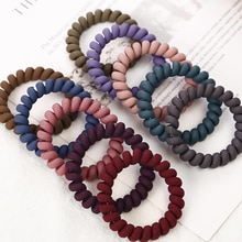 1 pz donne colori opachi spessi grandi fili telefonici elastici colori profondi elastici corde a spirale a spirale Non contrassegnate cravatte per capelli solidi
