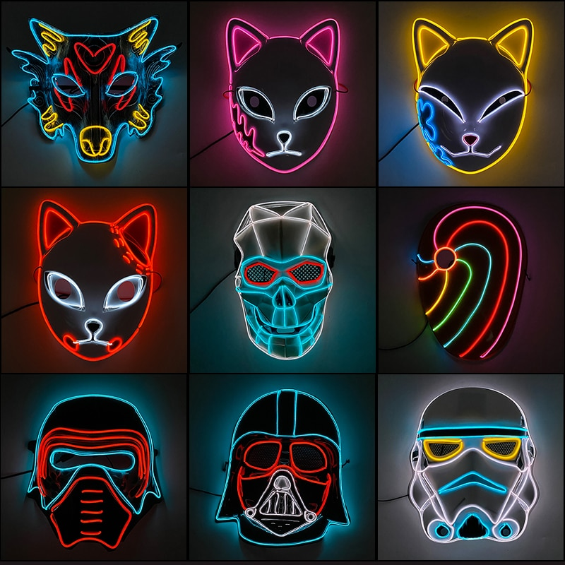 AliExpress - Glowing Neon EL Party Mask Halloween LED Mask Scary Cosplay Party Mask Light Up Masque Masquerad Mask Glow In The Dark