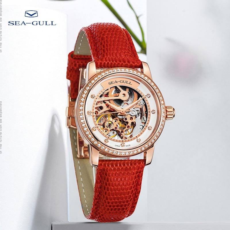 Seagull watch ladies mechanical watch 34mm fashion diamond female watch hollow dial 50m waterproof watch 719.403LK