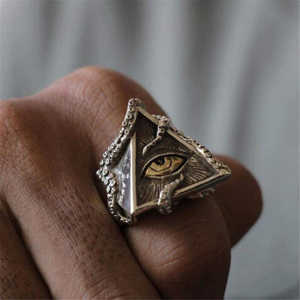 NPKDS Vintage Punk Eyes of Horus Creative Stainless Steel Octopus Foot Geometric Triangle Eye Ring  Men's Jewelry