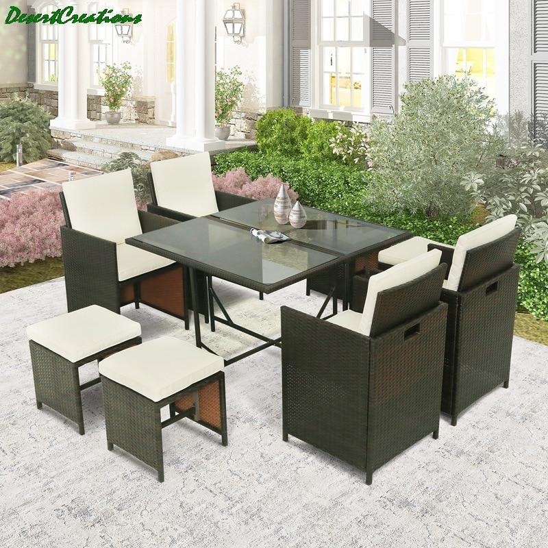 5-Piece Rattan Outdoor Patio Furniture Set Garden Wicker 1 Tempered Glass Table...