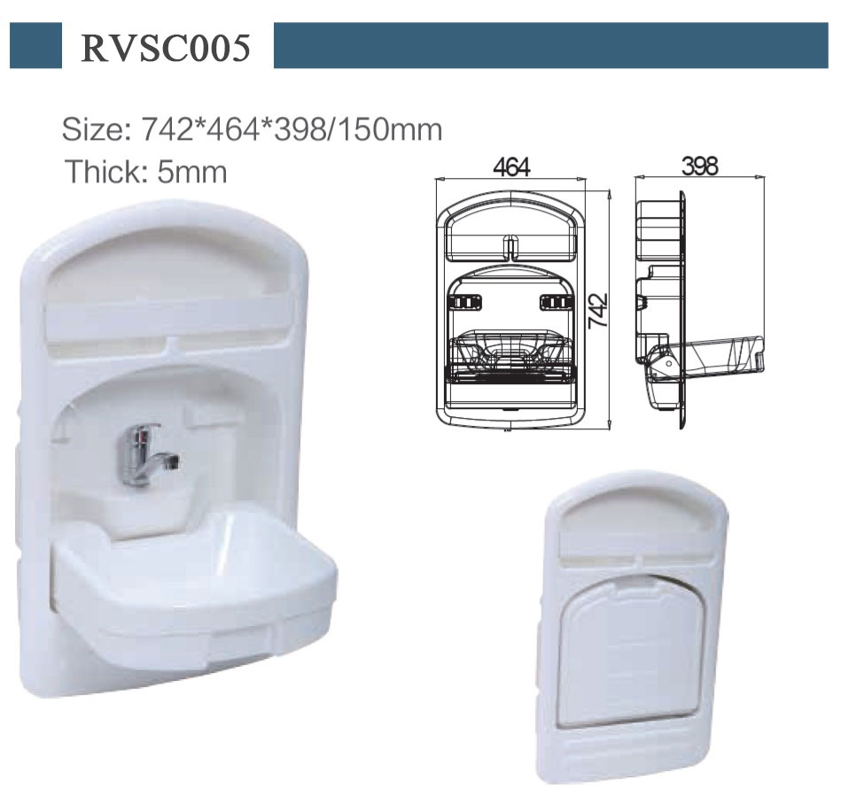 RV Hand Wash Basin Wall mounted Folded Sink with Faucet Boat yachts van camper trailer Caravan accessories 742*464*398/150mm enlarge