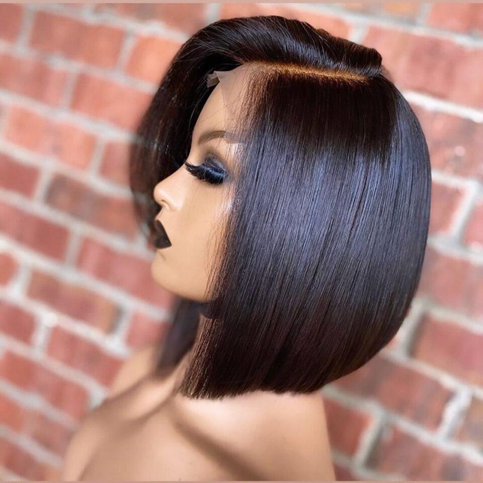 شعر مستعار أمامي من الدانتيل الصناعي للنساء ، شعر قصير ناعم ، طبيعي ، مقاوم للحرارة العالية ، 14 بوصة ، للحفلات ، للاستخدام اليومي ، أسود ، 1B