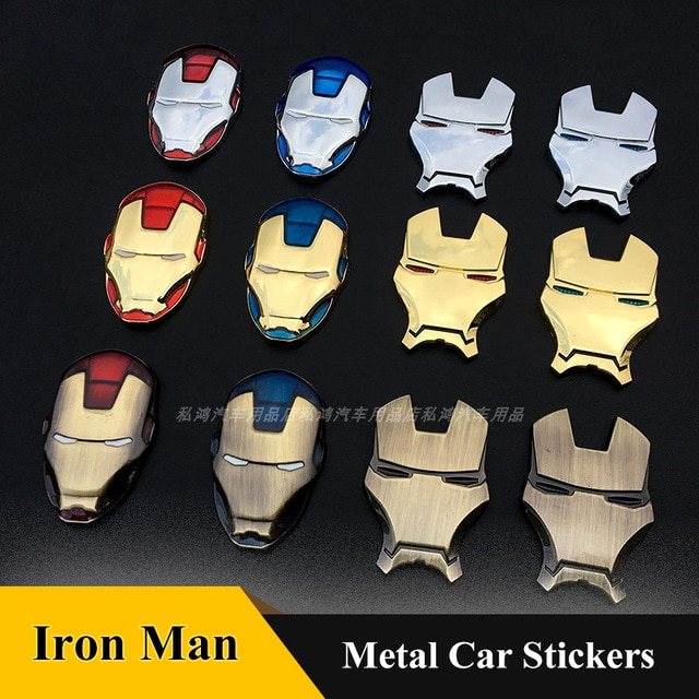 3D Chrome Metal  Car Emblem Stickers Decoration The Avengers Car Styling Decals Exterior Badge for Iron Man car Accessories