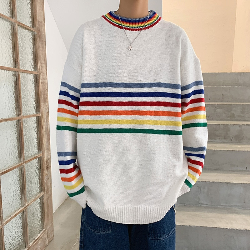 contrast striped pullover sweater Men's and women's striped contrast color knit sweater round neck pullover sweater couple loose and versatile tops