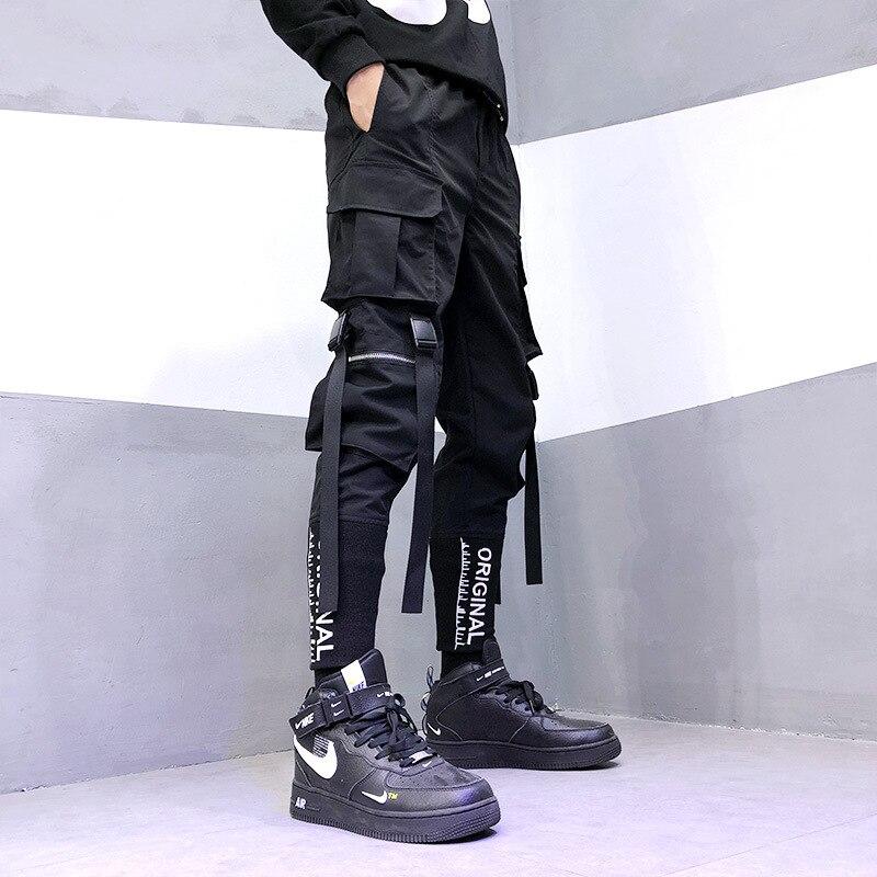 Брюки-карго мужские с ленточными карманами, уличная одежда в стиле Харадзюку, джоггеры, штаны в стиле хип-хоп, одежда в стиле хип-хоп