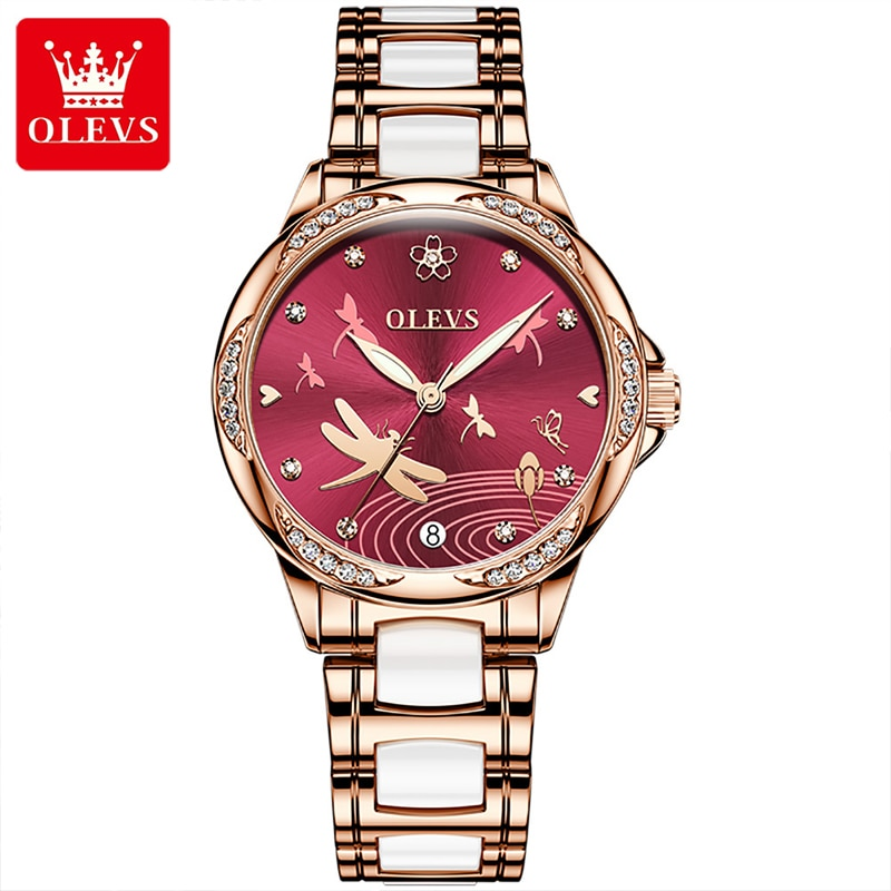 OLEVS 2021 New Casual Fashion Ladies Automatic Mechanical Watch Ceramic Steel Band Waterproof Luminous Pointer Watches 6610 enlarge