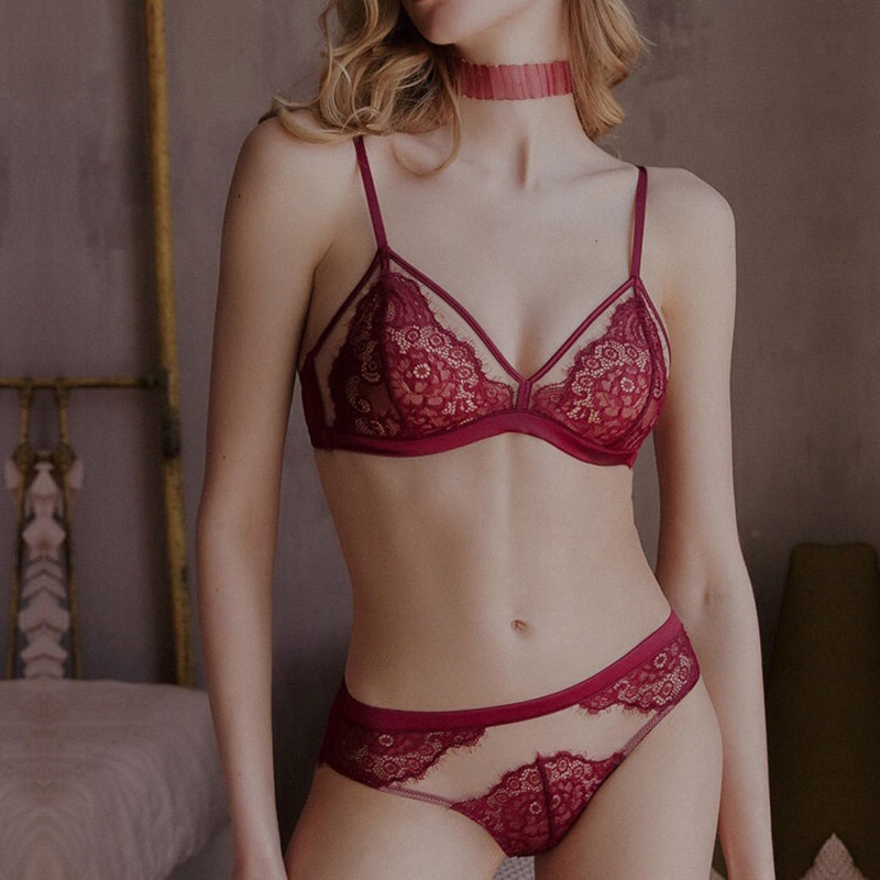 Bra Set Up For Woman Sexi Bra Brief Sets Sexy Lingerie Exotic Underwear Set Wire-Free Thin Lace Embroidery Push Up Bras