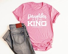 Dochter Van De Koning Shirt Christian T-shirts Voor Vrouwen Triblend Shirt Jezus Slogan Grunge Tumblr Katoen Casual Tee Top-K754