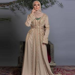 Caftan Dress Long Sleeve Lace Appliques Islamic Dubai Saudi Arabic Formal Evening Dress Beaded Abaya Prom Dress