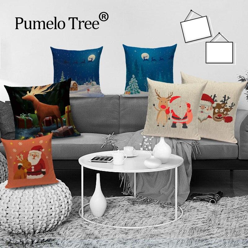 Funda de cojín de Santa Claus de dibujos animados, funda de almohada decorativa, funda de almohada para Sofa de lino, funda de almohada para decoración de hogar, fundas de cojines
