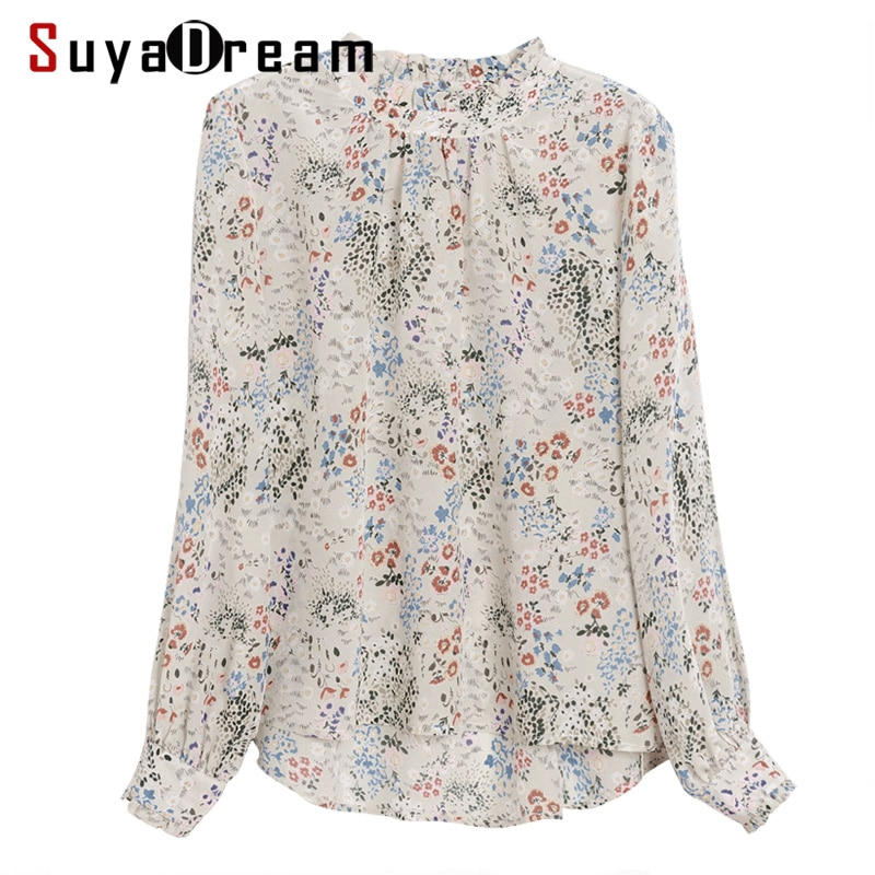 SuyaDream Women Blouse 100% REAL SILK Crepe Floral Printed Blouse Shirt Stand Collar Office Lady Blouses 2020 Fall Winter Shirt