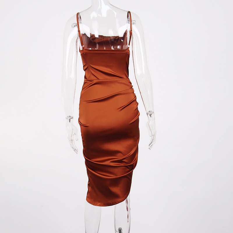 Ruched Satin Summer Dress Drawstring Spaghetti Straps Cowl Neck Backless Sexy Long Dresses for Women