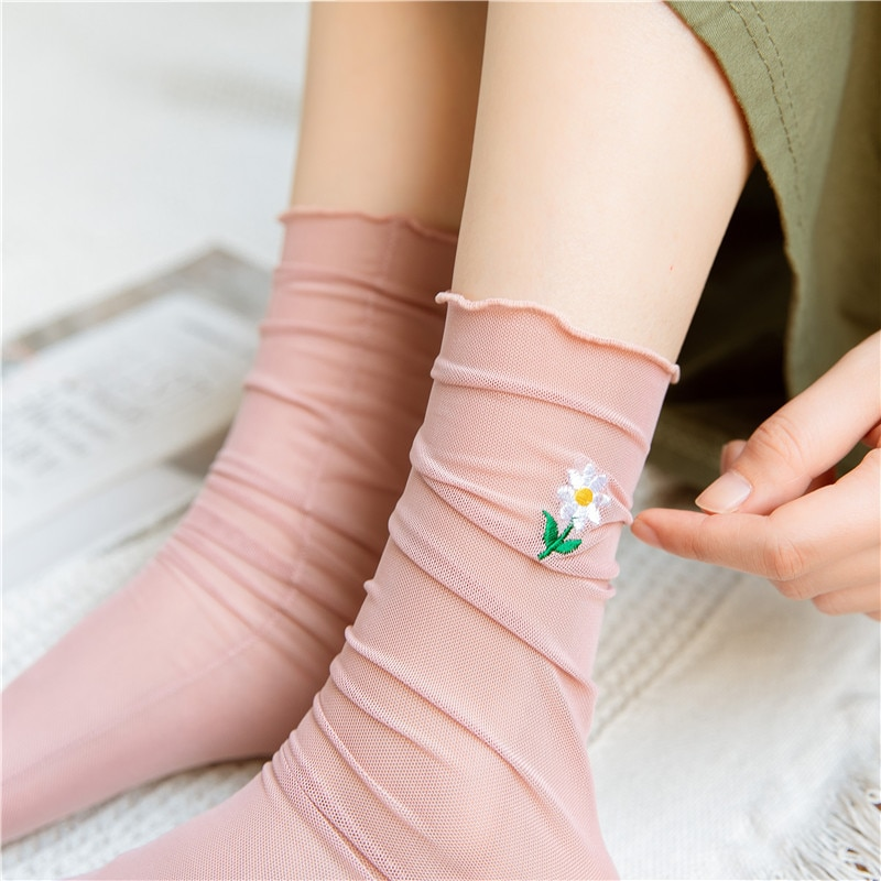 Japanese Korea High School Girls High Socks Loose Solid Colors Double Fashion ultra-thin socks small flower ears female socks