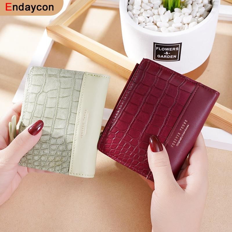 dudini fashion korean style wallet pu leather long section wallet women printing geometric pattern zipper 1 fold women wallets New Fashion Crocodile Pattern Women's Wallets Mini Coin Purse Ladies Small Wallet Female PU Leather Two-Fold Zipper Card Holder