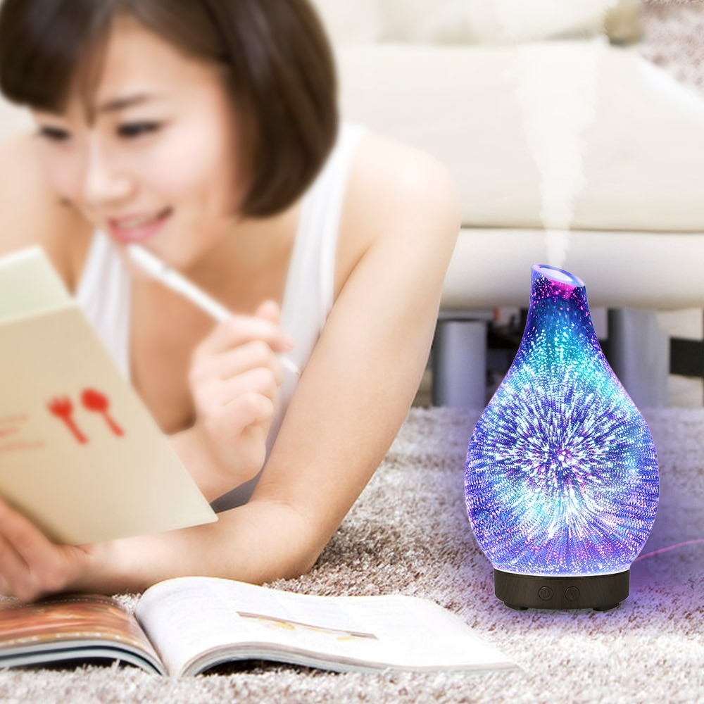 Difusor de Aroma de vidrio 3D de 100ml, humidificador por ultrasonido de aromaterapia, difusor de aceites esenciales, 7 LEDs que cambian de Color