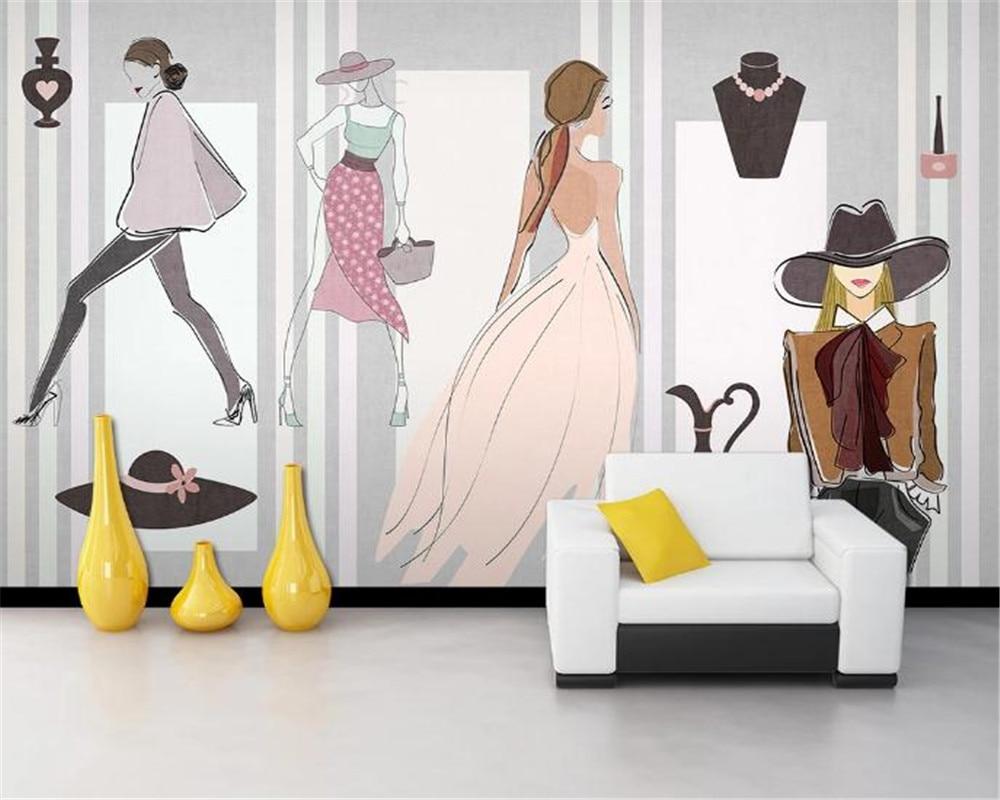 Papel de pared moderno 3d moderno minimalista de moda de gama alta tienda de ropa centro comercial fondo de pared pintura HD papel tapiz