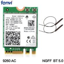 Double bande sans fil-AC 9260ac pour 9260NGW adaptateur NGFF 1730Mbps WiFi + Bluetooth 5.0 802.11ac carte MU-MIMO Windows 10 antennes