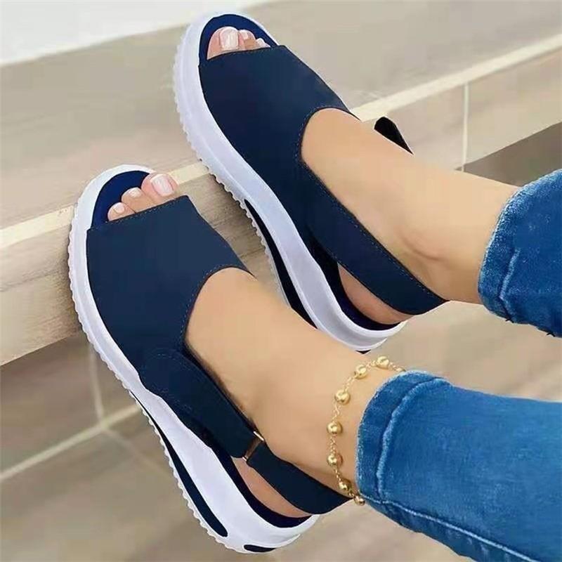 Shoes Women Platform Sandals 2021 Velcro Stretch Fabric Summer Women's Comfort Walking Ladies Sandalias Female Casual Footwear