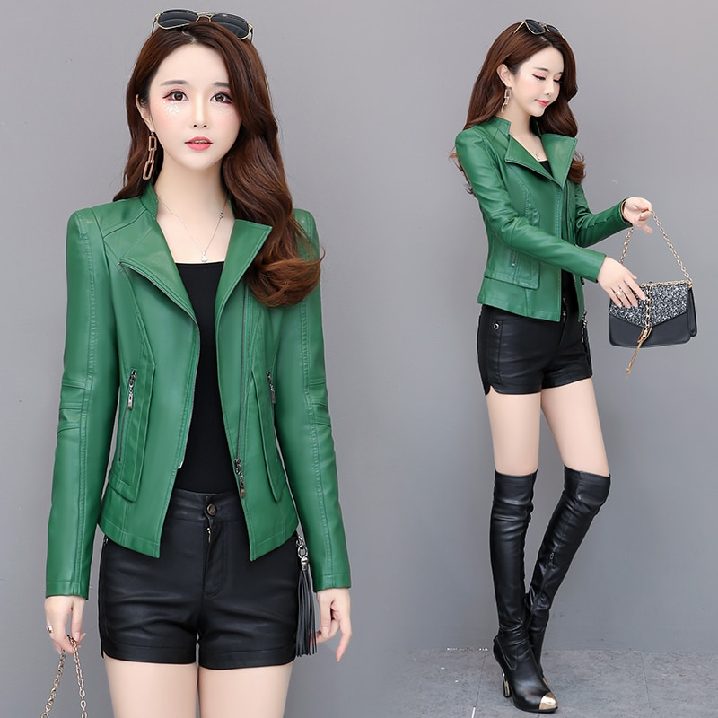 Spring coat ladies Pu leather jacket short autumn zipper coat locomotive leather small suit faux leather slim black green jielur autumn winter leather jacket women black zipper short coat slim korean pu kpop leather clothing mujer coat 2019 new s xl