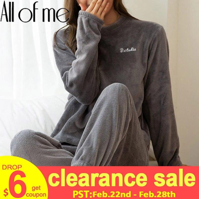 Women Pajamas Set Winter Warm Flannel Pajamas Homewear Thick  Female Sleepwear Plush Pyjamas Suit Sweatshirt Hoodies Solid Color