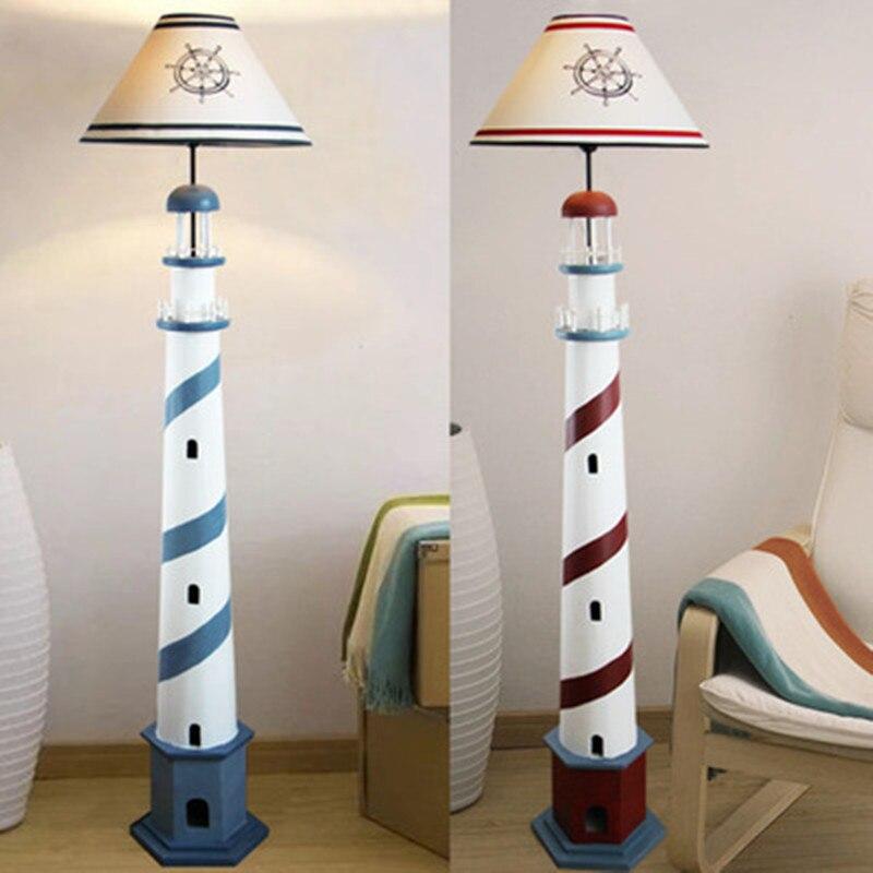 Faro Mediterráneo lámpara de pie Retro océano lámpara de pie sala de estar dormitorio Luz de suelo niños habitación decoración del hogar Accesorios