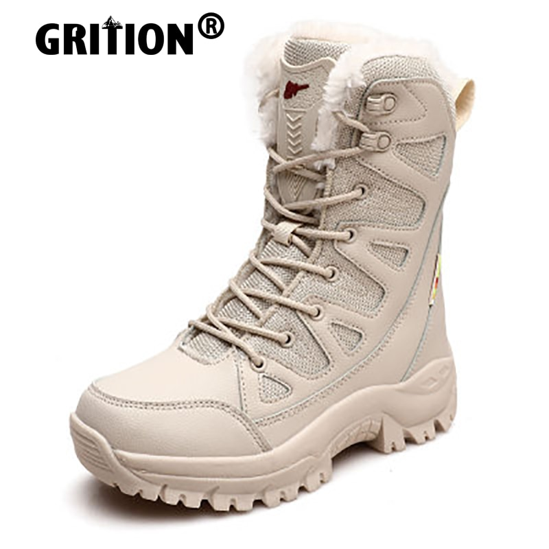 GRITION Womens Hiking Boots Outdoor Waterpoof Mens Trekking Ankle Shoes Winter Warm Non Slip Combat