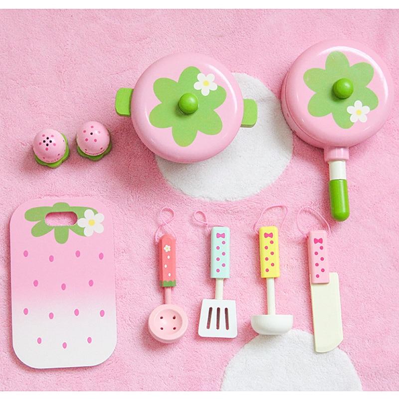 Детские игрушки, розовые деревянные игрушки, детские игрушки для ролевых игр, игрушки для ролевых грибов, кастрюля, подарок на день рождения