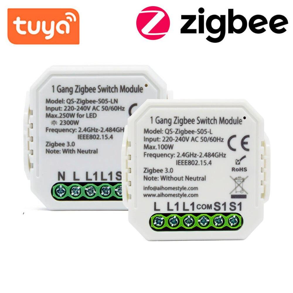 Interruptor de Luz sem Fio Casa do Google Tuya Zigbee Módulo Interruptor Relé Compatível Alexa