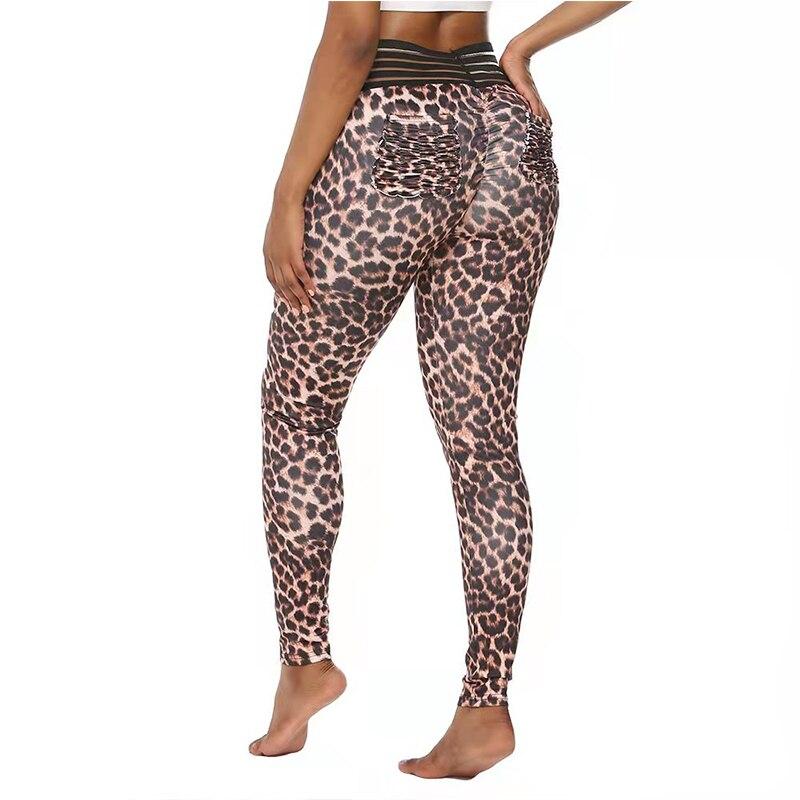 Mallas deportivas de leopardo para mujer, pantalones de chándal para correr, de cintura alta, Sexy, de levantamiento de cadera, a la moda, para Fitness