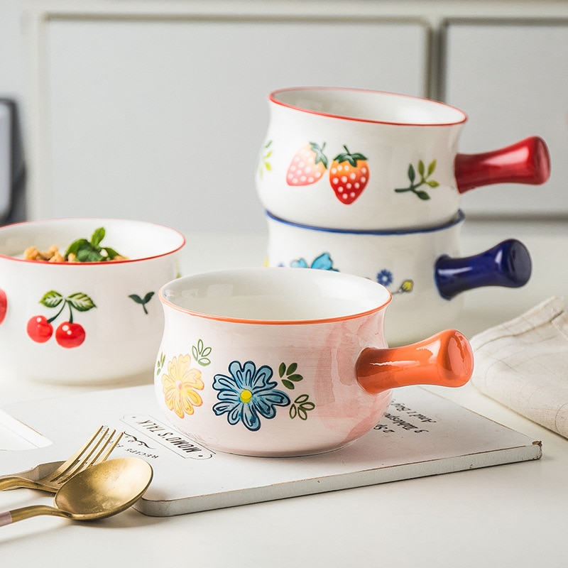 Minijarra de cerámica pintada a mano para leche con mango, accesorios para café, jarras para crema, diseño de puerto de derivación, jarra pequeña para salsa