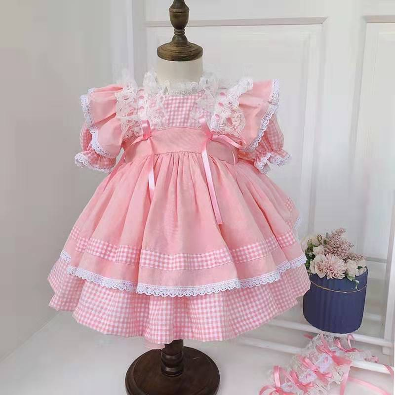3 Pcs Zomer Roze Plaid Turkije Vintage Spaanse Lolita Prinses Baljurk Jurk Voor Bady Meisje Verjaardag Pasen Bruiloft Casual jurk