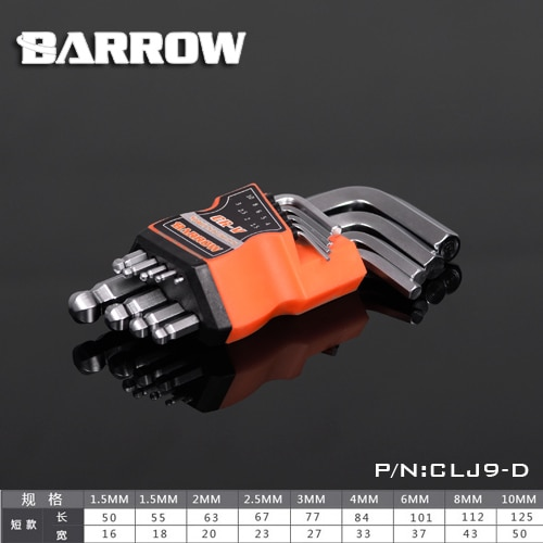 Carrinho de mão CLJ9-D, hex kits de chave, cabeça de bola curta, um conjunto de 9 teclas, 1.5/2/2.5/3/4/6/8/10mm