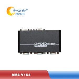 AMS V1S4 vga splitter 1 in 4 out splitter support 4 port output HD video for led display screen