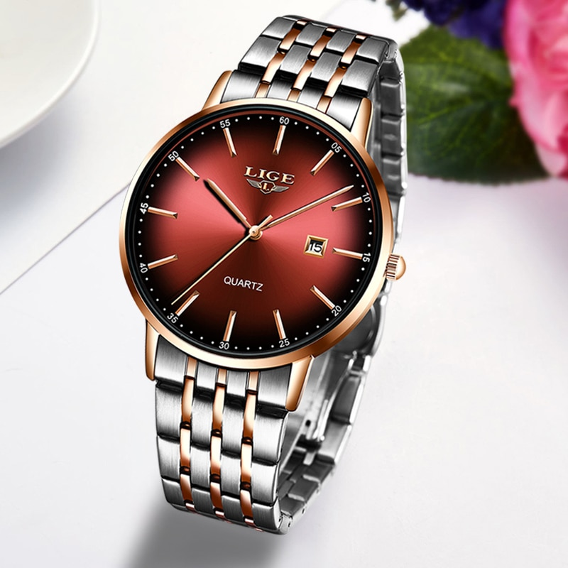 Relogio Feminino 2021 LIGE Fashion Casual Women Watches Top Luxury Ultra Thin Waterproof Stainless Steel Band Quartz Watch+Box enlarge