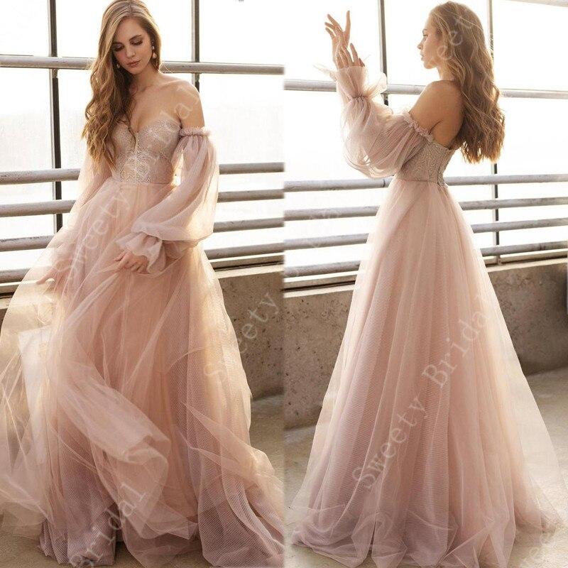 Vestidos De novia con hombros descubiertos color champán 2021, apliques De encaje De manga larga, vestidos De novia De playa, Vestido De novia