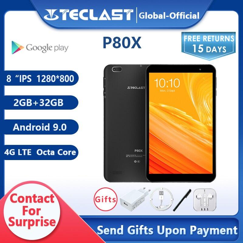 Teclast-جهاز لوحي 4G P80X ، مع Android 9.0 ، Netbook ، هاتف ، 8 بوصة ، 1280 × 800 ، SC9863A ثماني النواة ، 2 جيجا بايت رام ، 32 جيجا بايت روم ، GPS ، كاميرا مزدوجة