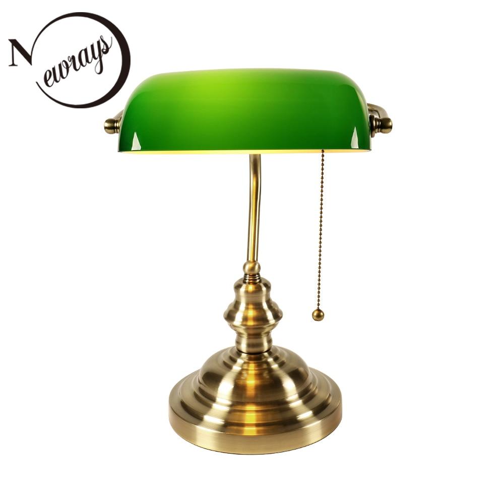 Lámpara banquero clásica vintage, lámpara de mesa E27 con interruptor, cubierta de pantalla de cristal verde, luces de escritorio para dormitorio, estudio, lectura de casa