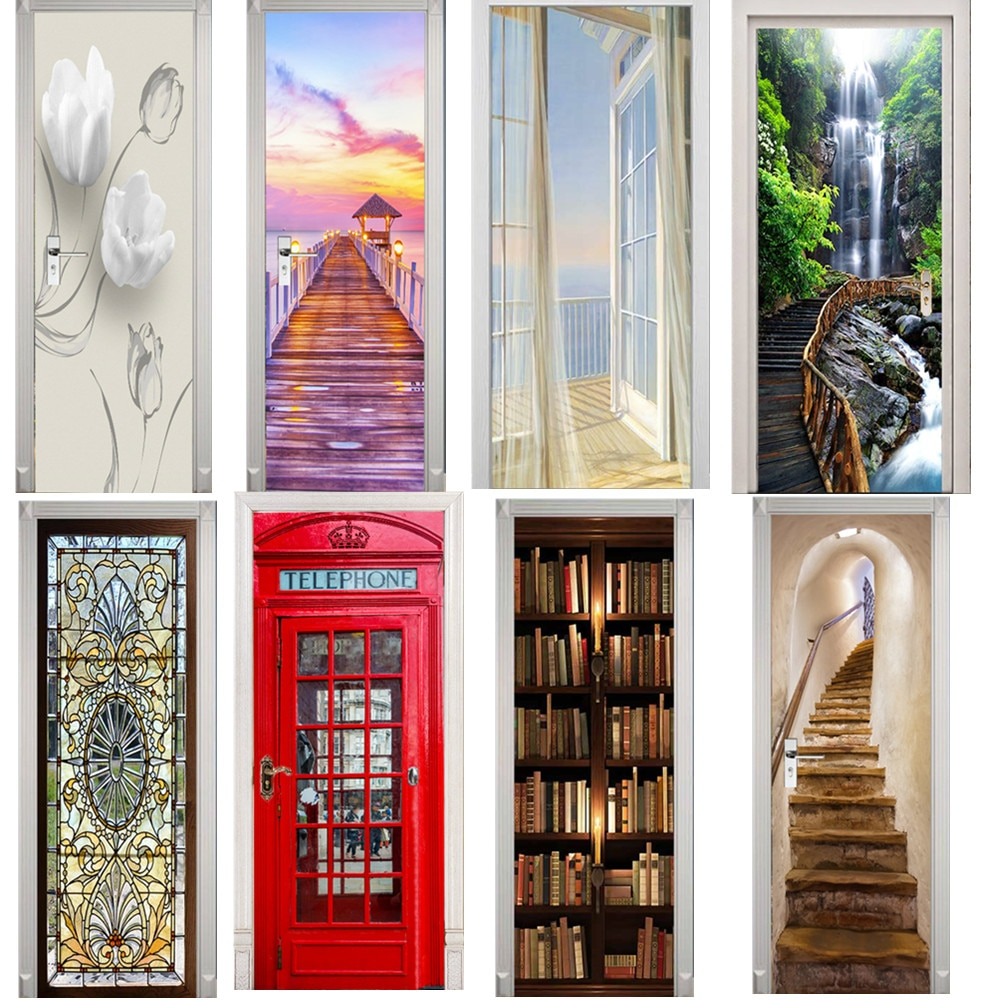 Fashion 3D Door Stickers Bookcase Mural Wallpaper Self Adhesive Wall Decal PVC Art Living Room Poster DoorPoster deursticker