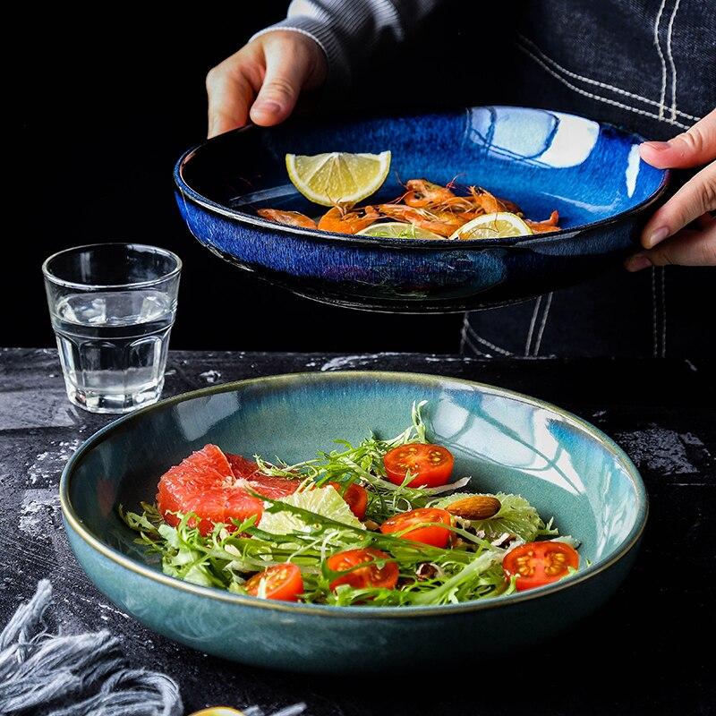 أطباق السيراميك أطباق سلطة عميقة كبيرة مستديرة بلون طبق فاكهة مطعم المنزلية بسيطة الإبداعية أطباق عشاء 10 بوصة