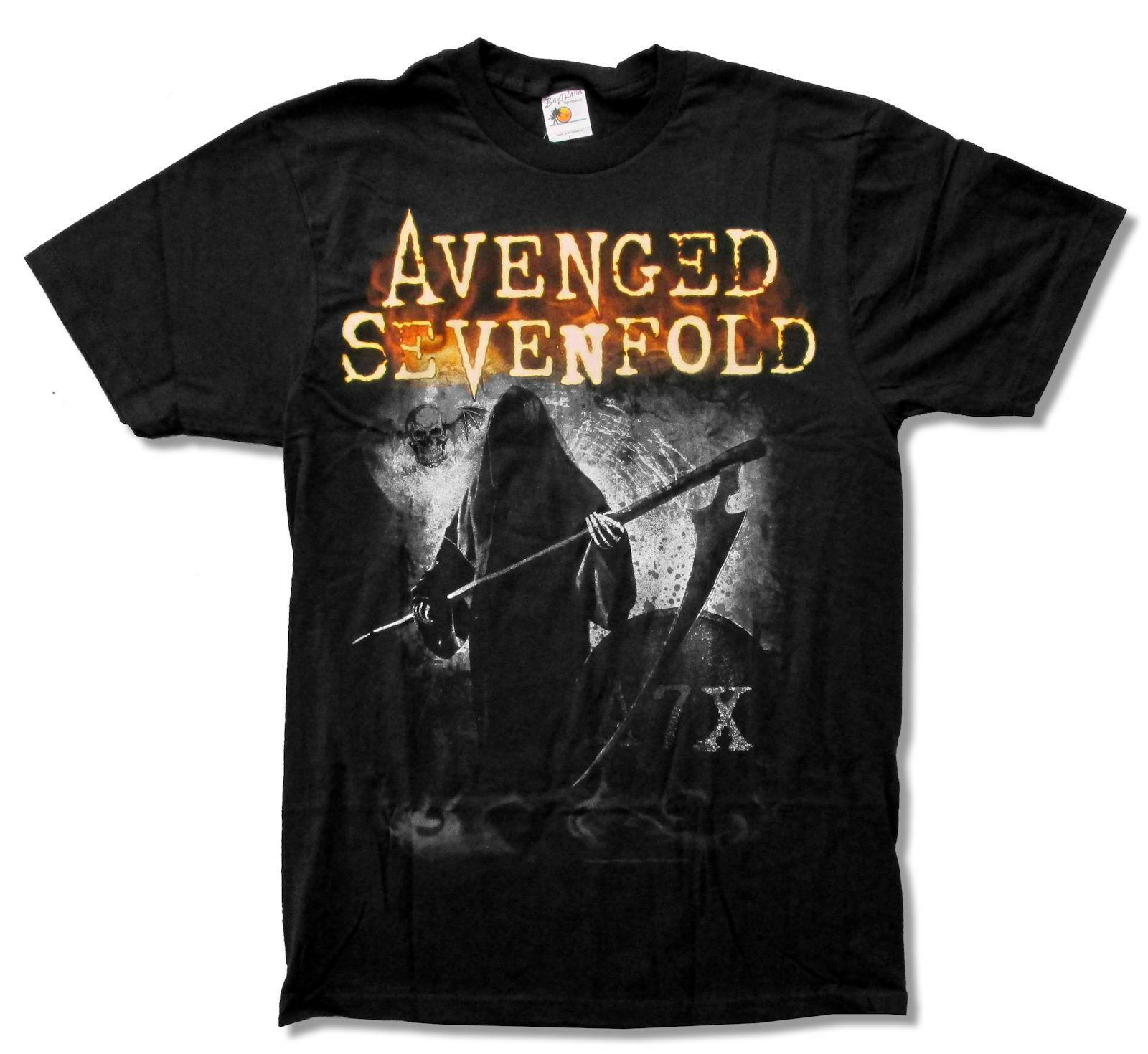 Camiseta negra Grimm venged Sevenfold nuevo adulto oficial A7X hombre estampado camiseta Hipster camiseta