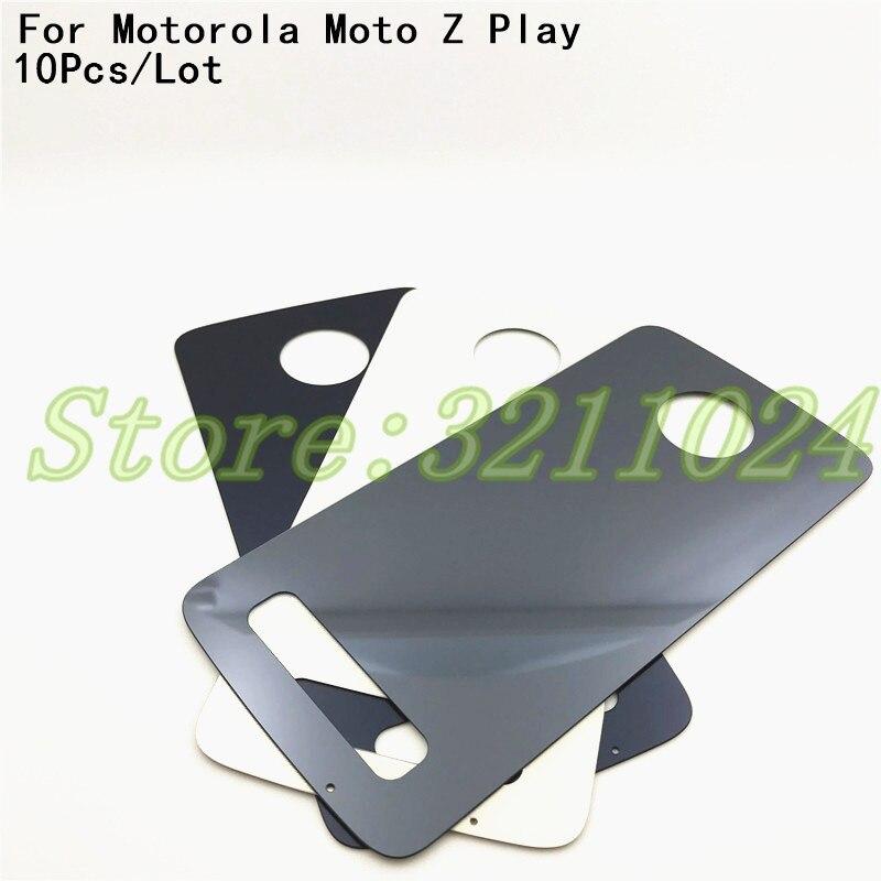 "10 unids/lote Original 5,5 ""carcasa trasera para batería carcasa para Motorola Moto Z Play Droid XT1635 batería de vidrio cubierta trasera con logotipo"