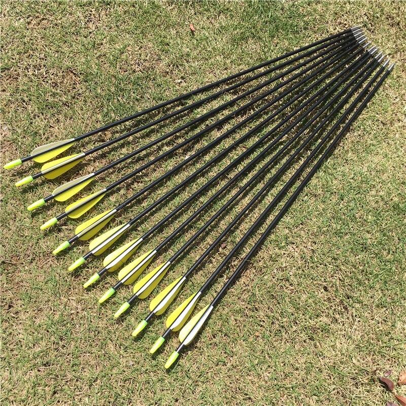 6/12/24 pièces 31 pouces fibre de verre flèche colonne vertébrale 700 jaune blanc plume pour arc classique arc classique pratique tir à larc de haute qualité