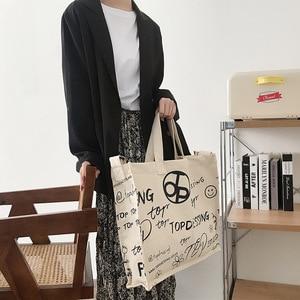 New Eco Fridendly Shopping Tote Bag Large Capacity Student Book Bag Single Shoulder Messenger Bag Simple Casual Printed Bag