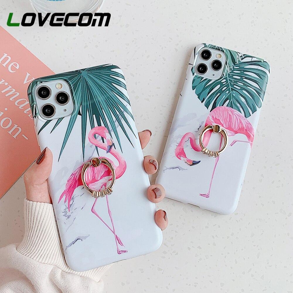 Funda de teléfono con soporte de anillo de mármol y hoja de plátano y Flamenco para iPhone 11 Pro Max XR XS Max 7 8 Plus, funda mate IMD suave, funda trasera de teléfono